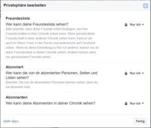 Einstellungen im Facebookprofil